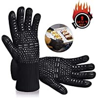 Karrong Grilling Gloves Heat Resistant Oven Gloves, BBQ Gloves Heat Resistant Up to 800 ℃ / 1472 ℉ with EN407 Certified for BBQ, Grill, Cooking, Baking, Welding, Black (1 Pair)