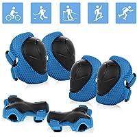 JIM'S STORE Conjuntos de Patinaje Infantil Consta de Rodilleras Coderas,es Adecuado para Bicicleta Patinaje Ciclismo Monopatín y Deportes Extremos(Azul)