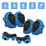 JIM'S STORE Sport Equipement Protection Sets Protection Enfant 6 Pcs Protège-Poignets Coudières Genouillères pour Skateboard Roller Patinage Vélo (Bleu)