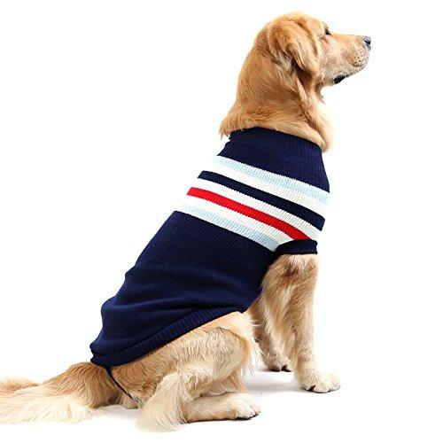 i'Pet Ich 'Pet Haustier Kleidung Hund Pullover Classic Style Streifen Rollkragen Pullover Winter Warm Bekleidung für Kleine, Mittelgroße und Große Hunde, M, Navy (Stricken Rollkragen-pullover Gerippt,)