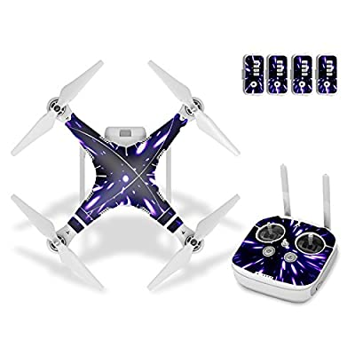 Ake Drone Body Skin Carbon fiber Decals Remote Control Sticker Waterproof Protective Cover Skin Wrap Kit for DJI Phantom 3 Vision - 7002