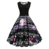 TWIFER Mode Damen Kleider Sleeveless Vintage Rundhals Abendkleider Druck Party Prom Rundhals Swing Kleid Cocktail (S, Schwarz)