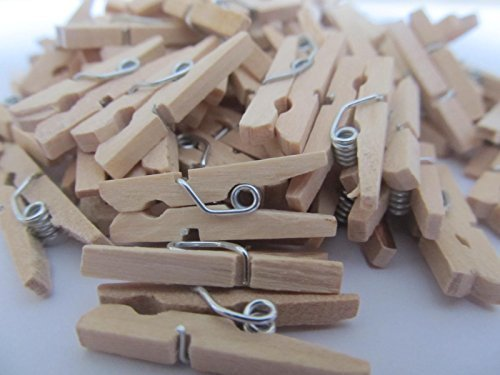 200 Natural Wooden Mini Pegs Crafts Weddings Parties Baby Showers 1 Inch