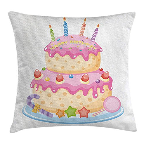 Birthday Decorations for Kids Throw Pillow Cushion Cover, Pastel Colored Birthday Party Cake with Candles and Candies, Decorative Square Accent Pillow Case, 18 X 18 Inches, Light Pink -