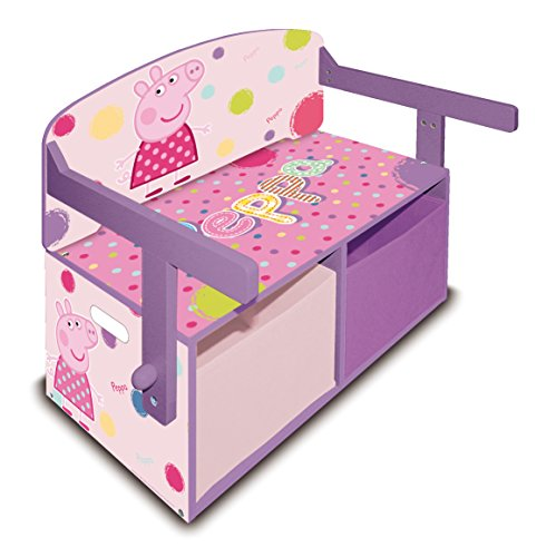 Arditex PP8378 Banco de madera guarda juguetes 3 en 1, diseño Peppa Pig