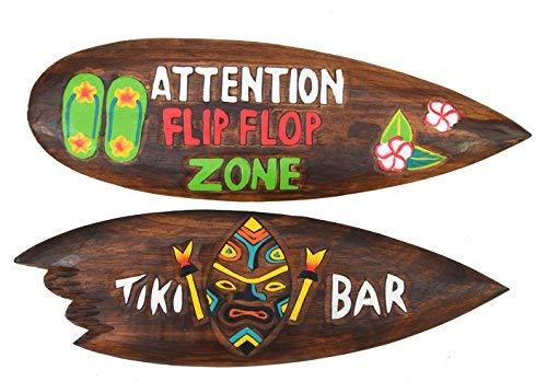 2 Deko Surfboards 60cm im Tiki Hawaii Style Surfboard im 2er Set