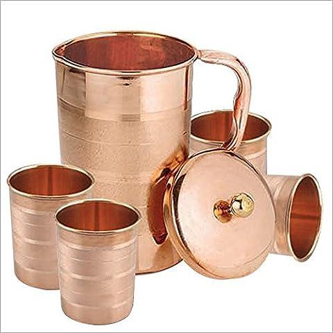 Set de 4 vasos de agua y una jarra con tapa, cobre beben ware de ayurvedic healing, capacidad de 1.6 litros