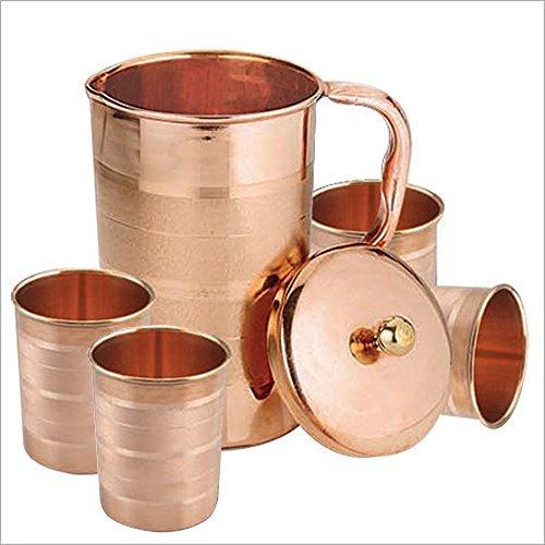 set-de-4-vasos-de-agua-y-una-jarra-con-tapa-cobre-beben-ware-de-ayurvedic-healing-capacidad-de-16-li