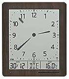 AMS Wanduhr, Holz, Grau, 26 x 23 x 5 cm