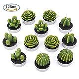 ZeWoo 12 Pcs Delicato Candele di Cactus, Decorativo Fatto a Mano Delicato Cactus Tealight Senza Fumo Carina Verde Pianta per San Valentino, Festa di compleanno o Nozze