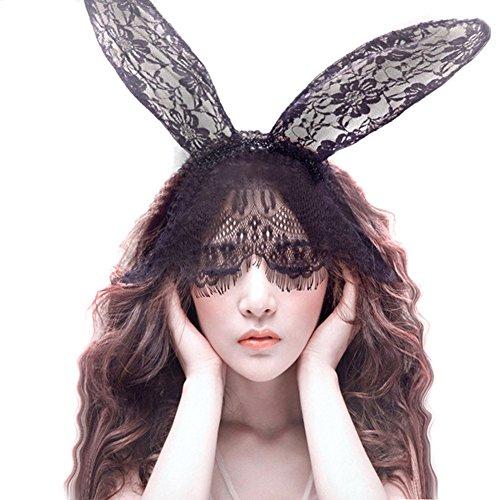 Sexy Bunny Kaninchen Ohren Spitze Maske Schleier Stirnband Haarband Haarschmuck für Weihnachten Maskerade Partei Cosplay Kostüm (Cat Kostüm Ohr Zubehör)