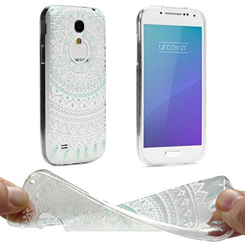 UrCover Custodia Protettiva Trend Fashion per Samsung Galaxy S4 Mini   Back Cover Trasparente   Case Ultra Slim Silicone TPU Morbida in Mandala Menta