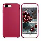 SURPHY Coque iPhone 8 Plus Coque iPhone 7 Plus, Coque Silicone Liquide Anti-Choc Ultra Fine Premium, Housse Protection Anti Rayures Étui pour iPhone 7 Plus et iPhone 8 Plus,Rose Red