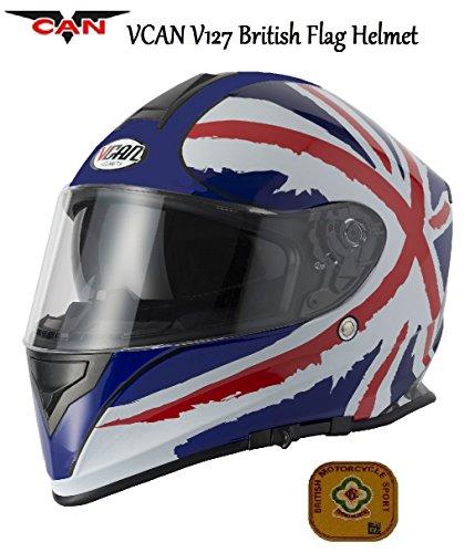 Bandiera del Regno Unito Moto VCAN V127Casco moto integrale Union Jack Graphic ACU ECE Approvato Sport Touring Casco e griglia Passamontagna - m