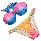 Bikini Set Badeanzug Muscheln Design Push up Gegen Chlor Meersalz und Sonnencreme Bunt M