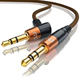 CSL - 0,5m Audio Klinken Kabel 3,5mm gewinkelt mit Nylonmantel | Audiokabel/Adapterkabel | geeignet für Handy Smartphone iPhone iPad iPod Tablet-PC MP3-Player | orange/schwarz