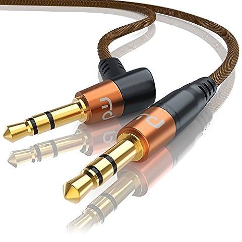 CSL - 1m Audio Klinken Kabel 3,5mm gewinkelt mit Nylonmantel | Audiokabel / Adapterkabel mit Knickschutz | Klinkenkabel geeignet für Handy, Smartphone, iPhone, iPad, iPod, Tablet-PC, MP3-Player, CD-Player usw. |