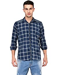 Lafantar Men's Check Washed Indigo Denim Shirt
