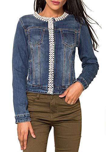 EGOMAXX Damen Jeans Jacke Perlen Strass Glitzer Steine Kurze Übergangsjacke D2259, Größe Damen:44 / XXL, Farben:Blau-3