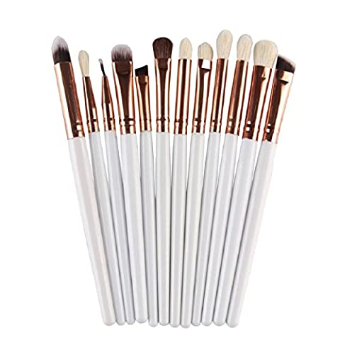 FEITONG 12Pcs Cosmetic Makeup Brush Lip Makeup Brush Eyeshadow Brush (White)