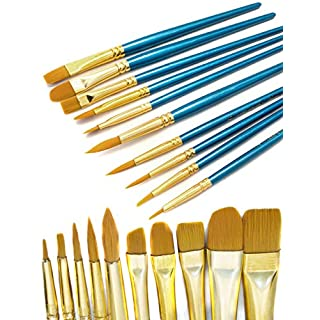 HomeTools.eu - 20er Pinsel-Set | Aquarell- Pinsel Wasser-Farben Blauer Griff | Mal-Pinsel Schul-Pinsel Zeichen-Pinsel | Spar-Set 20-teilig