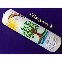Taufkerze mit Lebensbaum - Baum - inkl. Beschriftung von Babyprince - handgearbeitete Wachsverzierungen - !!! keine Folie !!!