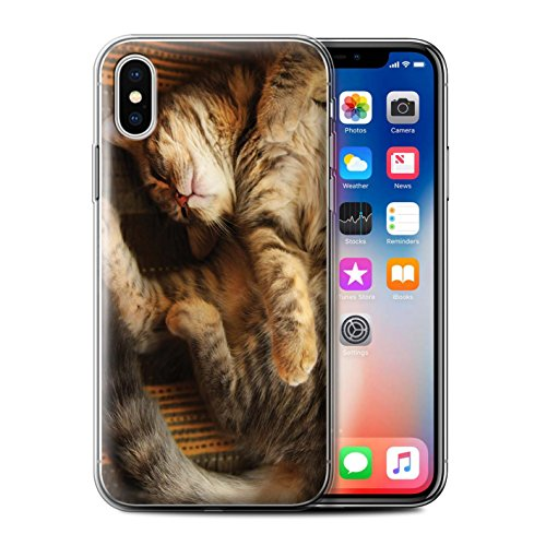 Officiel Elena Dudina Coque / Etui Gel TPU pour Apple iPhone X/10 / Loups Blancs Design / Les Animaux Collection Endormi/Tigré Chat