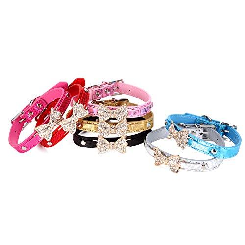 Erkennungsmarke für Haustiere Hund Puppy Bling Kristall Bowknot Krokodil Pattern Pet Halsband Halskette Choker (Kostüme Ihrem Freund Halloween Mit Besten)