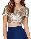 Frauen Sommer Beiläufig Pailletten rückenfrei Bling-Bling Oberseiten Bluse Hemd Blusen Tuniken Lässige kurz Tank Tops T-Shirt M Gold