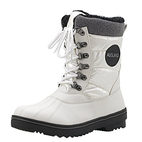 Shenji Damen Schneestiefel Kniestiefel mit Rutschfester Sohle Halbschaft Stoff Winter Schuhe H7625 Weiß 39 (Winter Weiße Boots)
