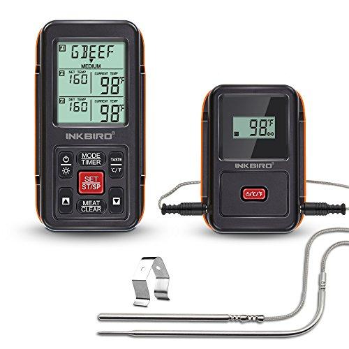Inkbird IRF-2S Remote Wireless Smoker Fleischthermometer Funk Thermometer mit Temperaturfühlern für Kochen von BBQ,Ofen,Raucher,Grills bis zu 300M (IRF-2S+2 Temperaturfühler, Orange)