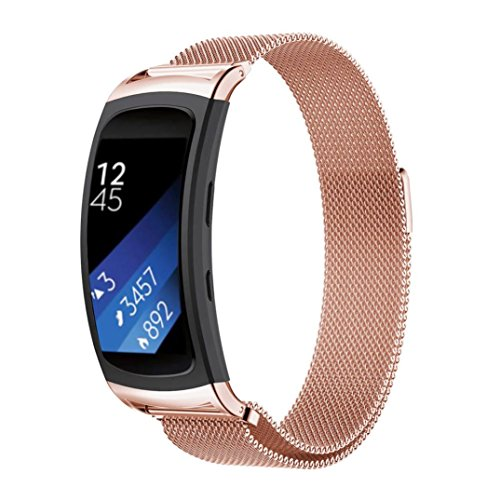 Fulltime® New Milanese Magnetschleife Edelstahl-Band für Samsung Gear Fit 2 SM-R360 Smartband Sport Tracker, 200mm (Rosa)