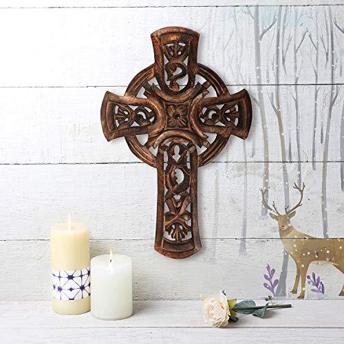 (Indiaethnicity Celtic Wooden Wall Kreuze für Cyber Montag mit kostenlosen Rosenkranz Armband Home Decor Dekoration Zubehör Altar Weihnachten Thanksgiving Geschenke)