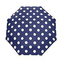 YICOCO White Polka Dot Auto Umbrella Polyester Pongee Umbrella