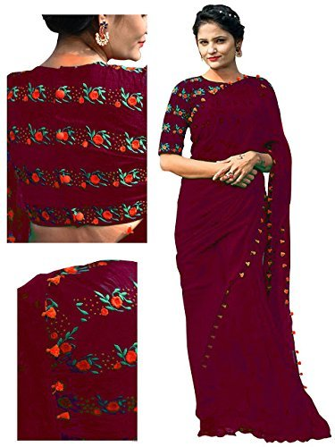 RV Creation Women's latest Designer Ethnic Wear Maroon Color Georgette Saree With...