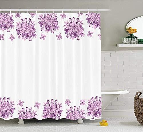 Scj tenda da doccia floreale di, grafica fiori di lillà su sfondo bianco illustrazione di natura primavera, arredamento da bagno in tessuto con ganci, 75 pollici di lunghezza, lilla e bianco