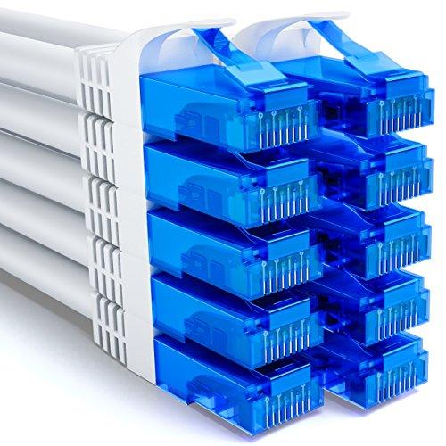 deleyCON 10x 0,5m CAT6 Netzwerkkabel Set - U-UTP RJ45 CAT-6 LAN Kabel Patchkabel Ethernetkabel DSL Switch Router Modem Repeater Patchpanel - Weiß