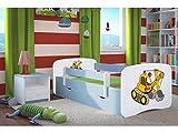 Kocot Kids Kinderbett Jugendbett 70x140 80x160 80x180 Blau mit Rausfallschutz Matratze Schubalde und Lattenrost Kinderbetten für Junge - Bagger 180 cm