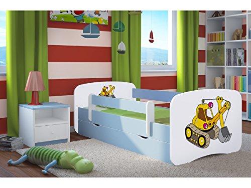 Kocot Kids Kinderbett Jugendbett 70x140 80x160 80x180 Blau mit Rausfallschutz Matratze Schublade und Lattenrost Kinderbetten für Junge - Bagger 160 cm