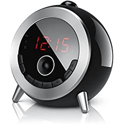 Brandson - Réveil avec Radio FM | Radio-Réveil à Projection 180° Rotatif | Radio-Horloge | Retro réveil numérique | Grand Écran | Luminosité Réglable | Noir