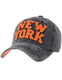 WITHMOONS Cappellini da baseball Cappello Baseball Cap Washed Distressed  Trucker Hat New York DW1516 34fa40d70257