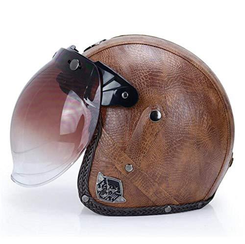 Qiutianchen Casco moto Vintage Harley Casco moto casco incrociatore 3/4 in pelle Casco moto jet aperto Jet Casco motociclistico@Modello marrone con lente a bolle_L