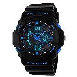 Skmei Sport-Armbanduhr für Outdoor, Bergsteigen oder Wandern, 50 m wasserdicht, digitale LED-Armbanduhr für Kinder blau