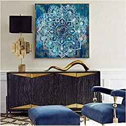 Suuyar Mandala Abstracta Flor De La Pared Carteles E Impresiones De Gran Tamaño Color Brillante Pintura Moderna De La Lona Cuadro Cuadros Decoración Del Hogar 40X60Cm (Sin Marco)