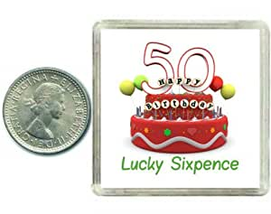 50th Birthday Lucky Silver Sixpence Gift in Presentation Keepsake Box A great good luck present idea for man or woman.