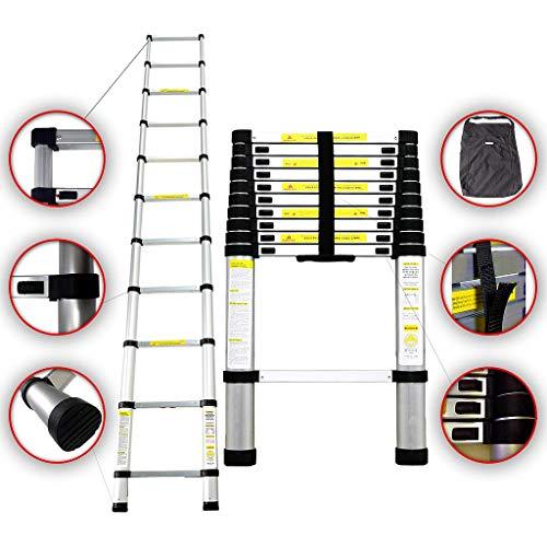 Sotech - Escalera Plegable, Escalera Telescópica, 3,2 Metro(s), Bolsa de transporte GRATIS, EN 131, Carga máxima: 150 kg, Estándar/Certificación: EN131