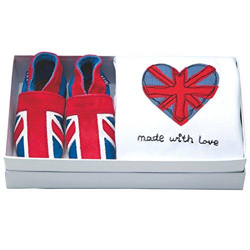 inch Blue ragazzo del bambino shoe & cotone Body Gift set-ricamato-Union Jack, rosso (Red), M 6-12 Mesi 12 cm