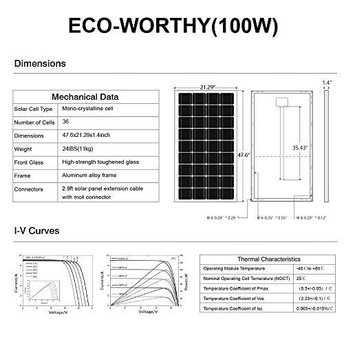 ECO-WORTHY 100W 12 Volt Solarmodul Polykristallin Solarpanel Photovoltaik Solarzelle Ideal zum Aufladen von 12V Batterien - 8