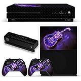 Lebendige 10035, Blinkende Gitarre, Design folie Sticker Skin Aufkleber Schutzfolie mit Farbenfrohe Design für Xbox One S Schwarz