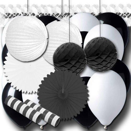 ordeno.eu Partyset Partydeko schwarz-weiß Grundausstattung